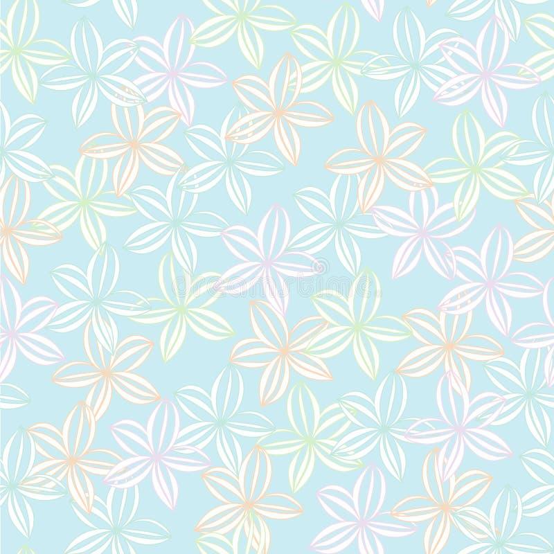 软的淡色花卉背景无缝的传染媒介重复样式 库存例证