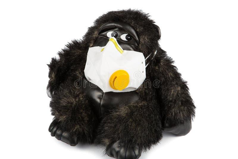 软的玩具大猩猩病态的佩带的流感面具 免版税库存照片