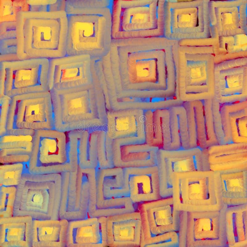 软的色的梯度线质地被弄脏的背景成螺旋形在正方形 数字抽象例证 皇族释放例证