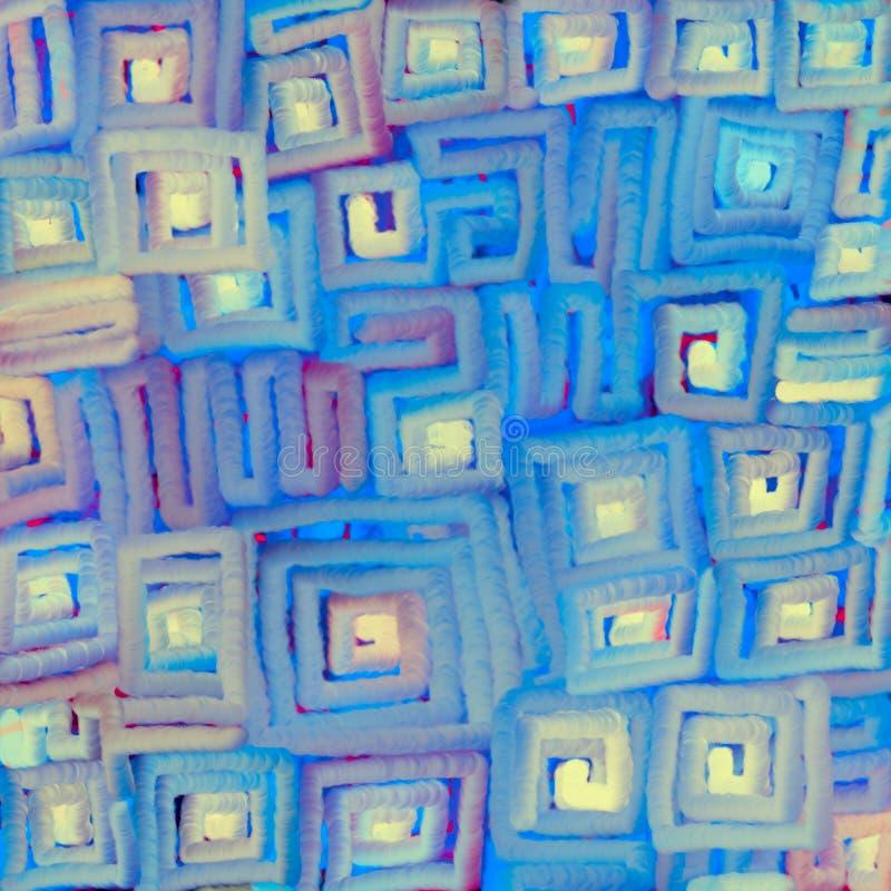 软的色的梯度线质地被弄脏的背景成螺旋形在正方形 数字抽象例证 库存例证