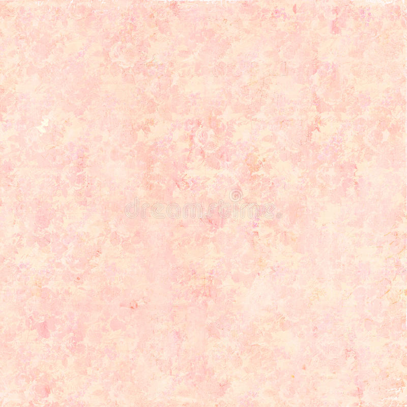 软的葡萄酒古董困厄了在桃子的破旧的花卉样式背景 库存例证