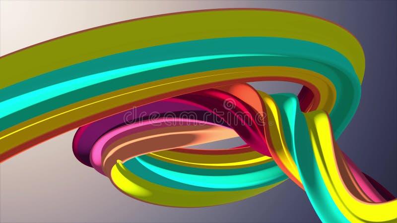 软的颜色3D翻译弯曲的蛋白软糖糖果摘要形状例证背景新的质量普遍五颜六色 库存例证