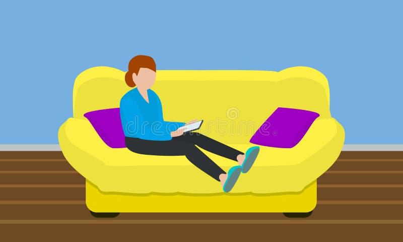 软的黄色沙发概念横幅,平的样式 皇族释放例证
