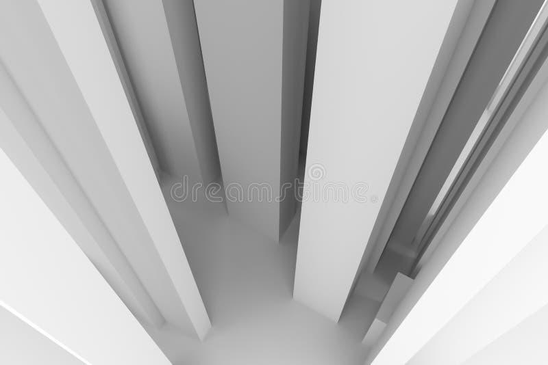 软绵绵地白色抽象现代柱子的样式&灰色背景 例证、黑色、艺术品& 3d 库存例证