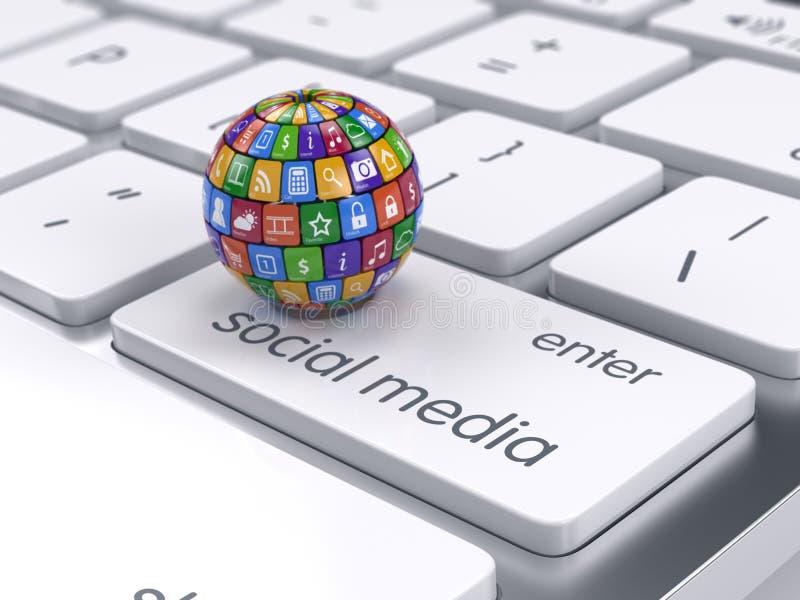 软件和社会媒介概念 在计算机上的象球形 向量例证
