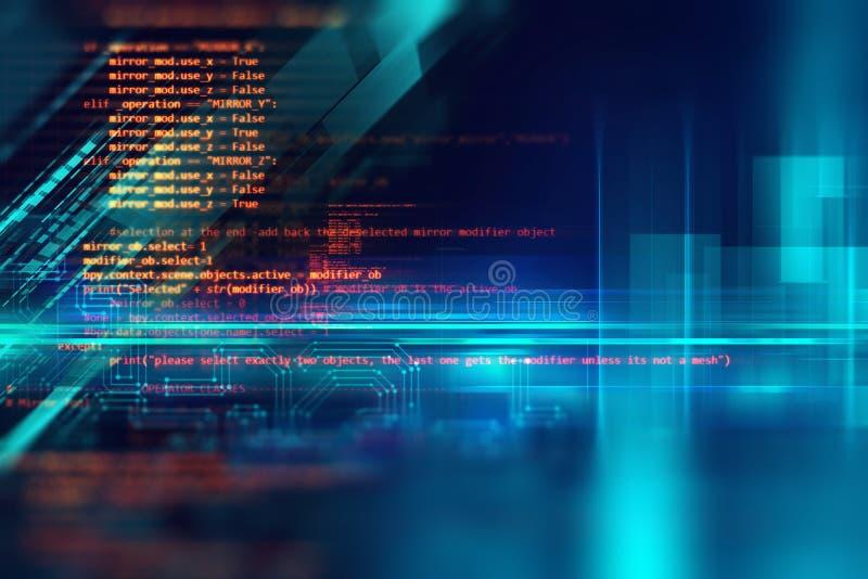 软件开发商编程的代码抽象技术背景  库存例证