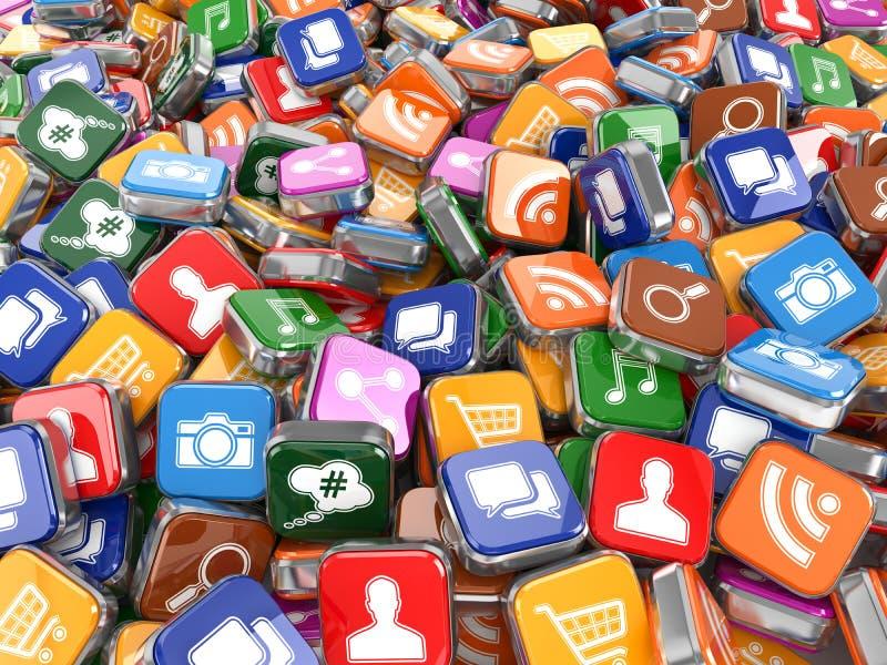 软件 智能手机或手机app象背景 向量例证