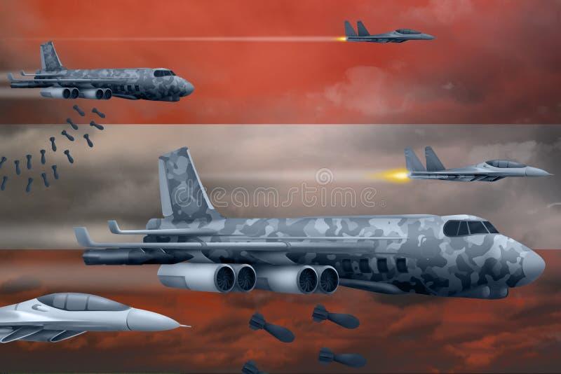 轰炸罢工概念的奥地利空军 奥地利军队空中飞机空投在旗子背景的炸弹 3d例证 库存例证