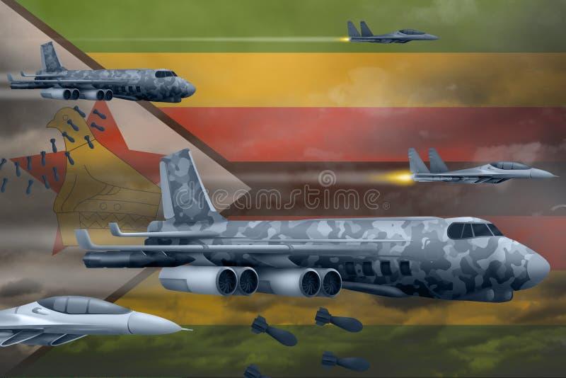 轰炸罢工概念的津巴布韦空军 津巴布韦军队空中飞机空投在旗子背景的炸弹 3d例证 向量例证