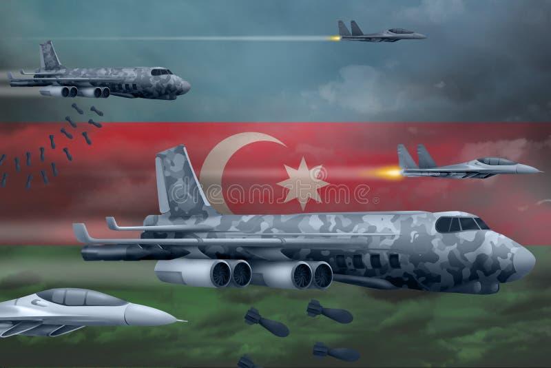 轰炸罢工概念的阿塞拜疆空军 阿塞拜疆军队空中飞机空投在旗子背景的炸弹 3d例证 皇族释放例证