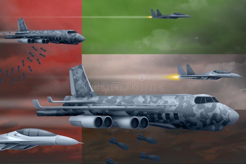 轰炸罢工概念的阿拉伯联合酋长国空军 阿拉伯联合酋长国军队空中飞机空投在旗子背景的炸弹 3d 库存例证