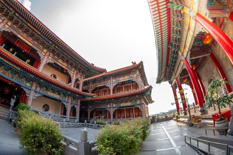 轰隆Bua皮带,暖武里,泰国- 2019年1月17日:Borom Racha Kanchanaphisek寺庙Leng Nei Yi寺庙2教堂f 库存照片