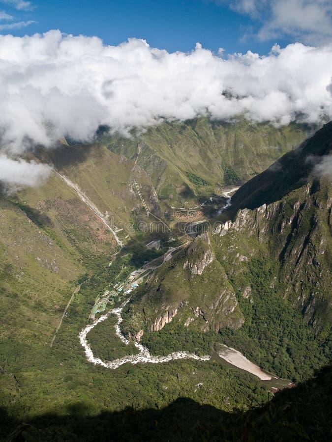 轰鸣声machu秘鲁picchu视图 图库摄影