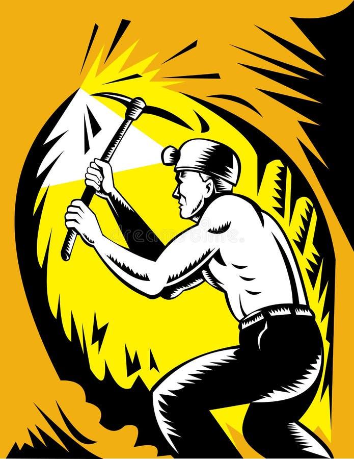轴煤矿工人挑库工作 向量例证