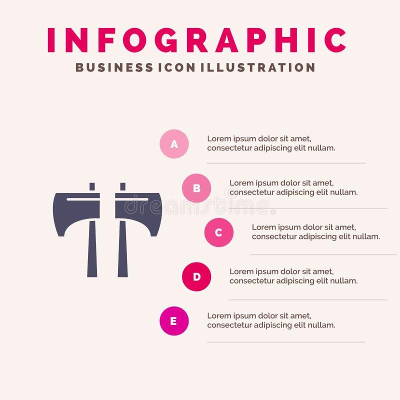 轴,剁,伐木工人,工具Infographics介绍模板 5步介绍 库存例证