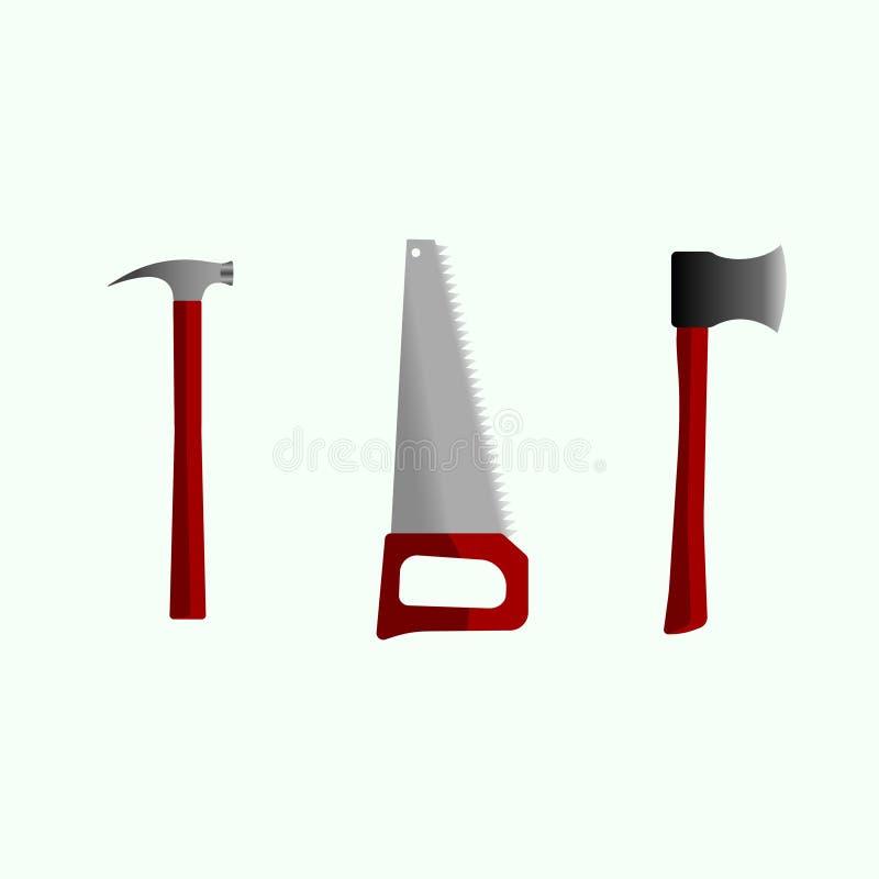轴,引形钢锯,锤子 向量例证