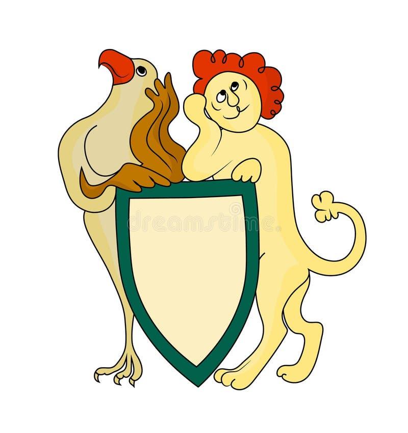 轻佻狮子和老鹰举行胳膊 传染媒介颜色图象 向量例证