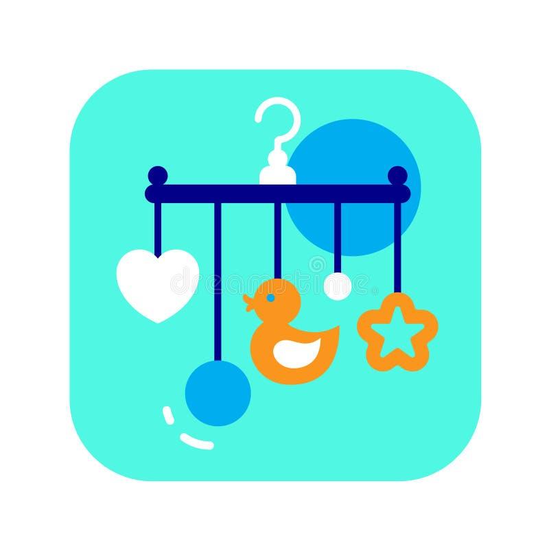 轻便小床流动平的颜色象 儿童玩具概念 网页的标志,流动应用程序,横幅,社会媒介 库存例证