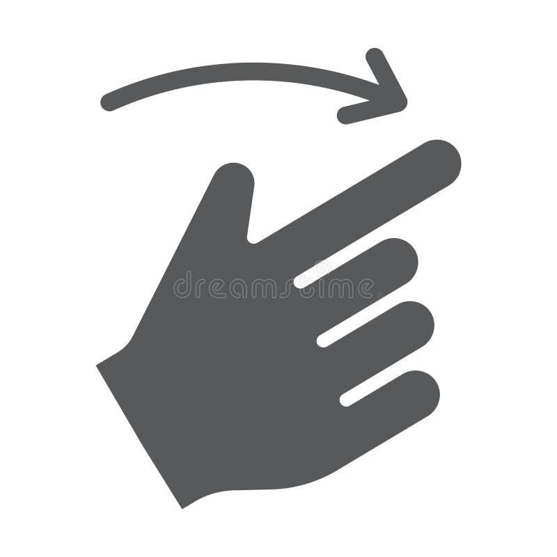 轻打右纵的沟纹象、手指和手,姿态标志,向量图形,在白色背景的一个坚实样式 皇族释放例证