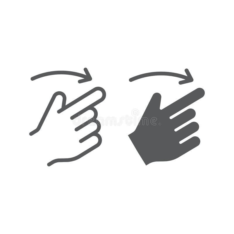 轻打正确的线和纵的沟纹象、手指和手,姿态标志,向量图形,在白色背景的一个线性样式 库存例证
