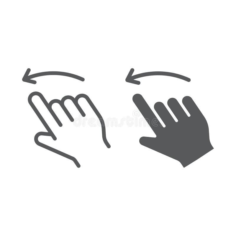 轻打留下线和纵的沟纹象、行动和手,姿态标志,向量图形,在白色背景的一个线性样式 库存例证