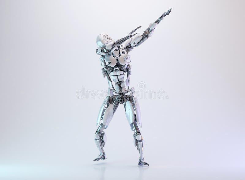 轻打的机器人靠机械装置维持生命的人人,人工智能技术概念 3d例证 向量例证