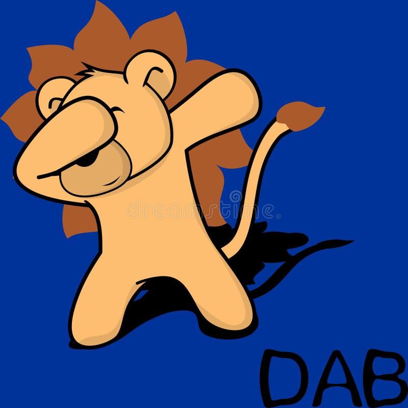 轻拍轻打的姿势狮子孩子动画片 库存例证