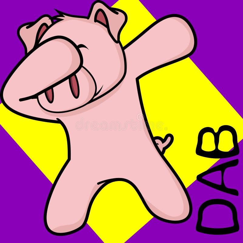 轻拍轻打的姿势猪孩子动画片 向量例证