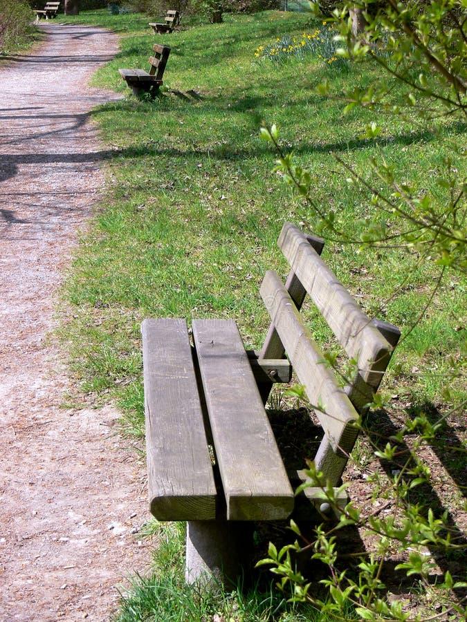 轻易获胜一些长木凳 库存照片