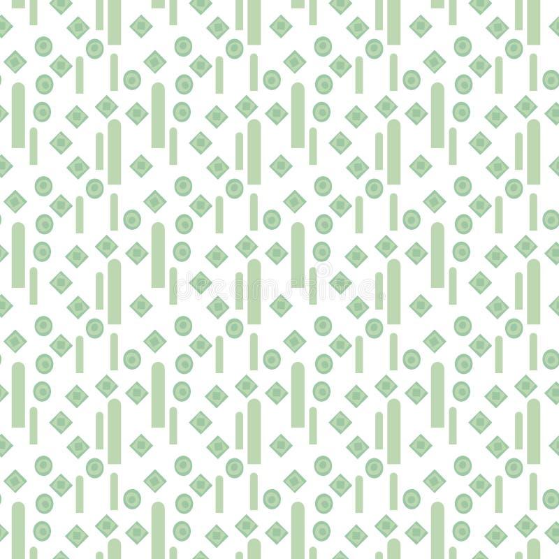 轻的几何与淡绿色的小菱形和垂直条纹的传染媒介无缝的样式在白色背景 向量例证