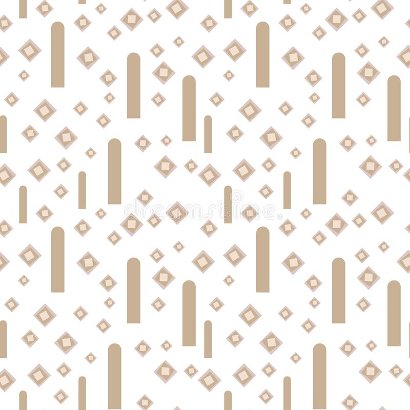 轻的几何与苍白棕色咖啡美好的菱形和垂直条纹的传染媒介无缝的样式在白色背景 皇族释放例证