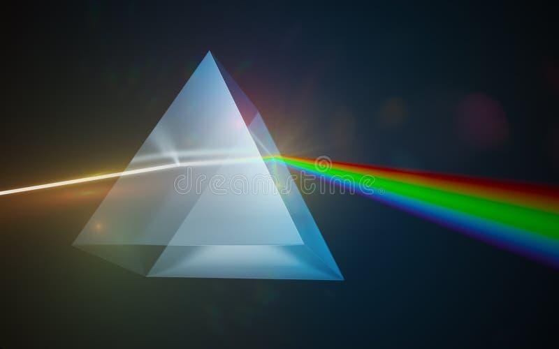 轻的分散作用和折射概念 发光通过三角玻璃棱镜的光 3d被回报的例证 库存例证