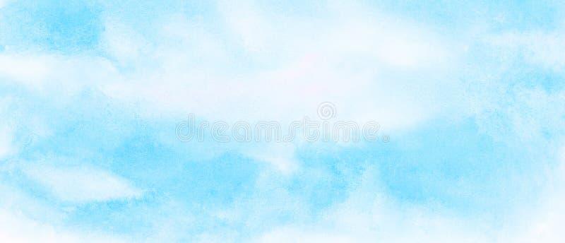 轻的天蓝色颜色水彩背景 水彩画绘了葡萄酒设计的,邀请加州纸织地不很细帆布 向量例证