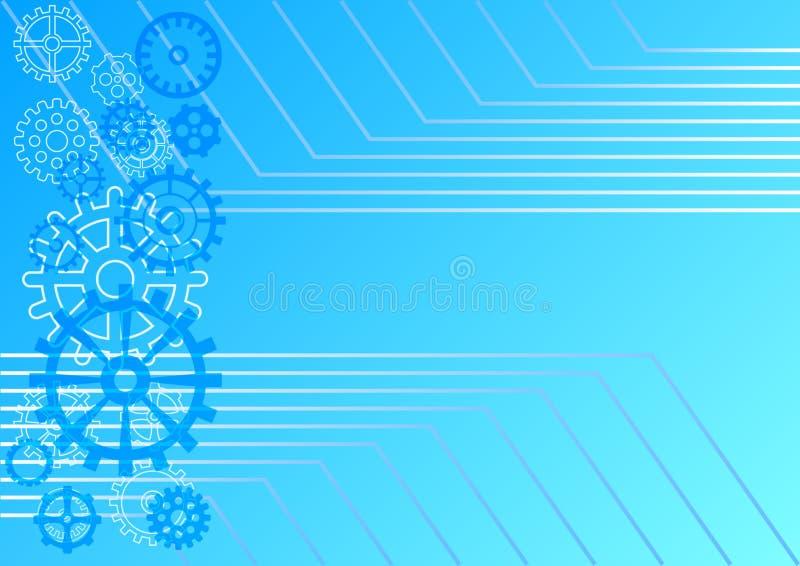 轻的抽象技术背景 用不同的链轮和水平的平行的壁角线的蓝色梯度背景 向量例证