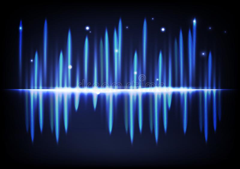 轻的明亮的发光的作用抽象背景音乐容量equ 库存例证