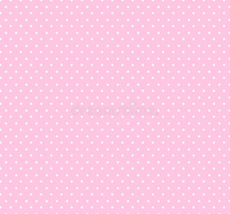 轻的柔和的淡色彩与小白色圆点样式的淡粉红色背景孩子的 婴儿送礼会装饰背景 皇族释放例证