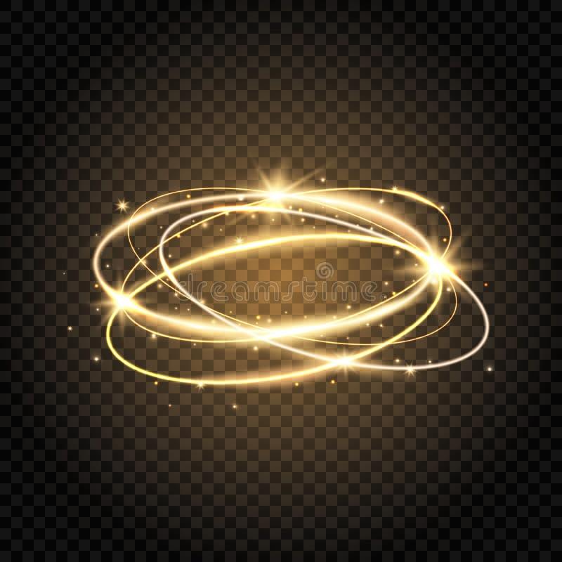 轻的漩涡 焕发发光的螺旋 金圈子线 发光的不可思议的火圆环 闪闪发光漩涡足迹 明亮的圈子框架与 向量例证