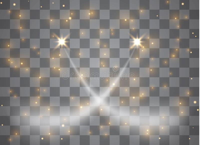 轻的焕发作用担任主角与在透明背景隔绝的闪闪发光的爆炸 也corel凹道例证向量 皇族释放例证