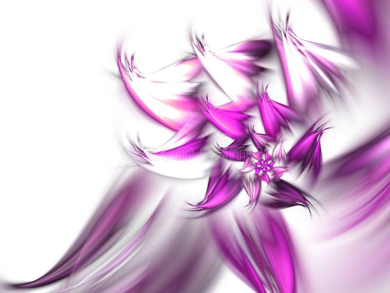 轻的羽毛似紫色分数维花 向量例证