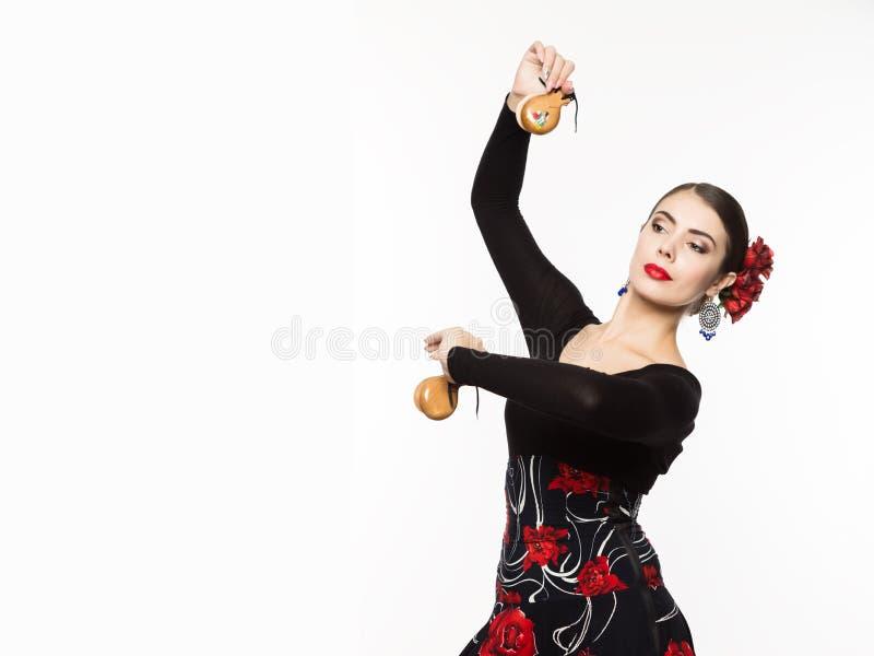 轻的背景的佛拉明柯舞曲舞蹈家 您的文本的空位 免版税库存图片