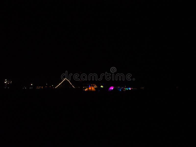 轻的节日Lichtermeer,威廉港,德国 免版税图库摄影