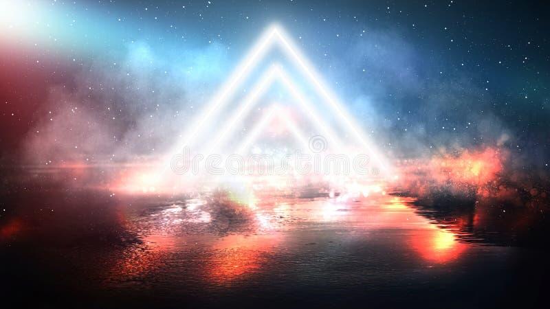 轻的金字塔三角 霓虹三角在中心,光,光芒,烟 库存图片