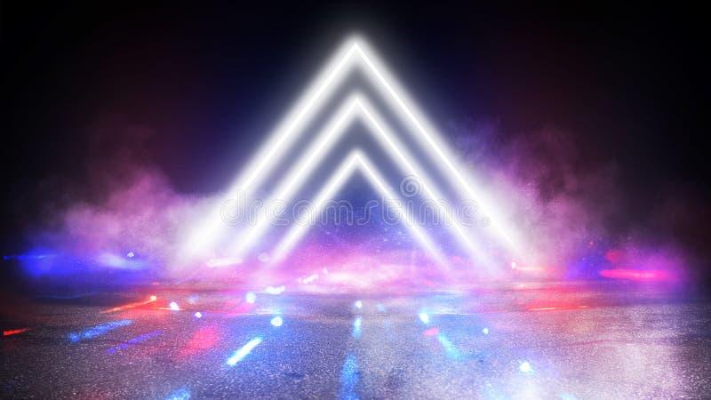 轻的金字塔三角 霓虹三角在中心,光,光芒,烟 免版税库存照片