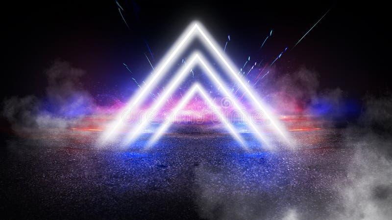轻的金字塔三角 霓虹三角在中心,光,光芒,烟 库存照片