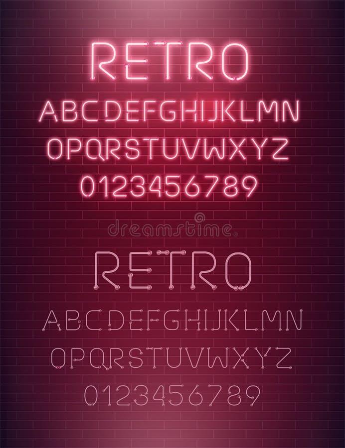 轻的霓虹字体信件集合 酒吧标志传染媒介类型 在砖墙背景的发光的赌博娱乐场和戏院红色文本字母表 库存例证