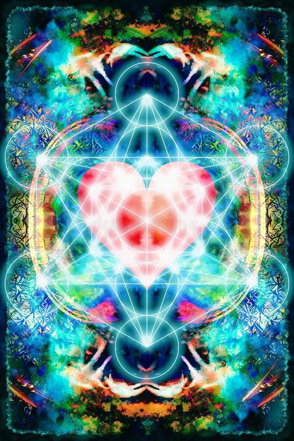 轻的merkaba和心脏在抽象背景 神圣的几何 库存例证