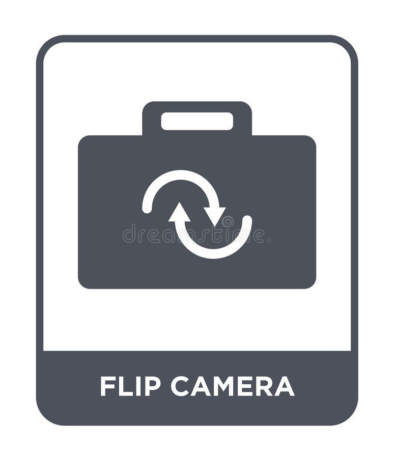 轻碰在时髦设计样式的照相机象 轻碰在白色背景隔绝的照相机象 轻碰照相机现代传染媒介的象简单和 库存例证
