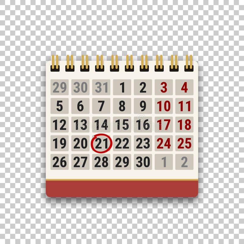 轻碰日历象与在透明背景的一个明显日期 任务、日程表、任命或者最后期限概念 库存例证