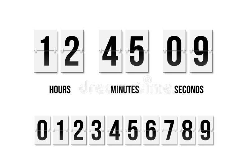 轻碰时钟陈列多少时刻:几小时、分钟和秒钟 有黑数字的轻碰委员会在减速火箭的样式 ?? 向量例证