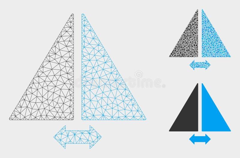 轻碰水平地导航滤网接线框模型和三角马赛克象 库存例证